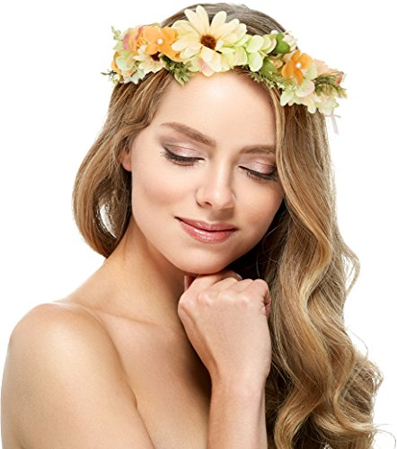 [Hydrangea With Daisy and Lavender Flower Headband Crown - With Adjustable Ribbon for Wedding Festivals (Orange and] (Romantic Time Period Costumes)