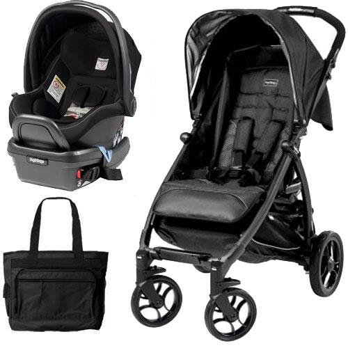 Peg Perego Travel Bag - Peg Perego - Booklet Stroller Travel System with Diaper Bag - Onyx