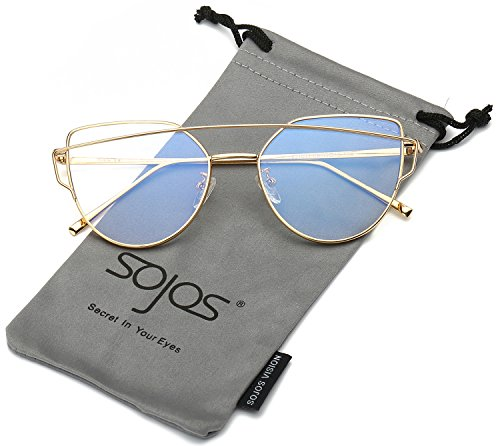 [SojoS Fashion Twin-Beams Metal Frame Cat Eye Women Clear Lens Glasses SJ1001 With Gold Frame/Clear] (Clear Cat Eye Glasses)