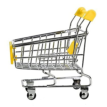 1PCS Mini Fine Supermarket Shopping Cart Handcart Shopping Utility Cart Mode Storage Toy Creative Desk Storage Baskets