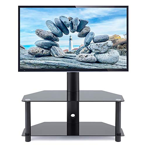 Universal Swivel Corner Floor TV Stand with Mount and Bracket for 27 32 37 42 47 50 55 inch Plasma LCD LED Flat or Curved Screen TVs,Weight Capacity 110lbs ()
