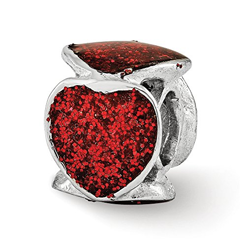 Sterling Silver and Red Glitter Enameled Heart Bead Charm - Enameled Heart Bead