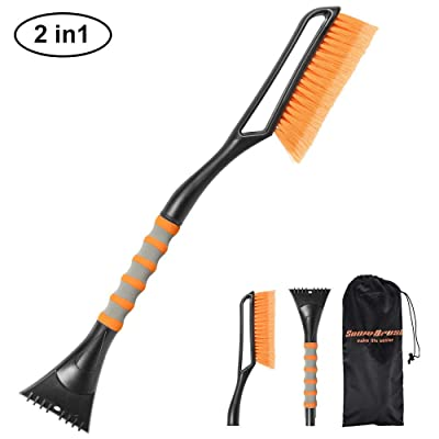 SEEKONE Car Snow Brush and Ice Scraper, 2 in 1 Detachable Winter Snow Ice Shovel Removal Tool with Ergonomic Foam Grip for Car Truck SUV (27in): Automotive