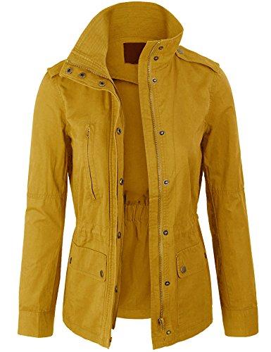 KOGMO Womens Zip Up Military Anorak Safari Jacket Coat -L-Mustard