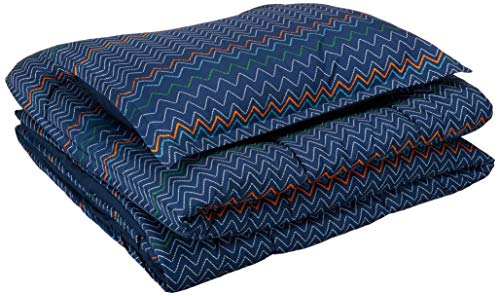 AmazonBasics Easy-Wash Microfiber Kid's Comforter and Pillow Sham Set - Twin, Navy ZigZags (Bedspread High Monster)