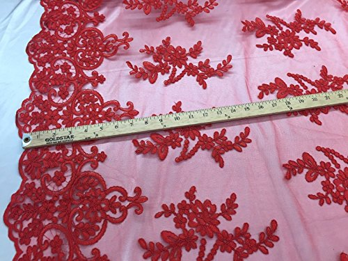 Amazon.com: Red Jasmine Flower Design Embroider And Corded On A Mesh Lace-yard: Kitchen & Dining