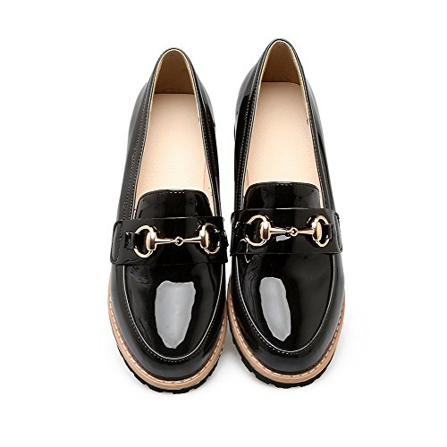VogueZone009 Women's PU Solid Pull-On Round-Toe Low-Heels Pumps-Shoes Black l7WgAVBJ