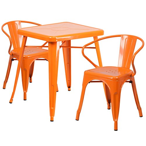 MFO 23.75'' Square Orange Metal Indoor-Outdoor Table Set with 2 Arm Chairs