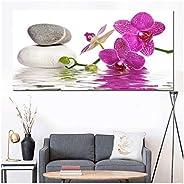 Rztzyg Impresión HD Modern Purple Orchid Zen SPA Stone SPA Stil Canvas Painting Poster Imagen de Arte de Pared