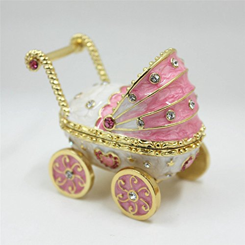- Shinny Gifts New Design Baby Carriage Handmade Jeweled Trinket Box with Shiny Crystals(Pink Color)