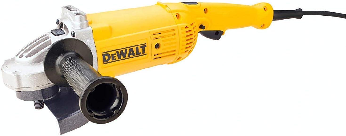 Schwarz//Gelb DeWalt DWE496-QS DWE496-QS-Amoladora 230mm 2.600W 6.500 RPM Suave Bloqueo y re-Arranque