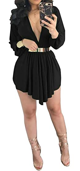 Lutratocro Womens Sexy Chiffon Pleated Club Wear Irregular Low Cut Short  Dress Black S 3a139df7d