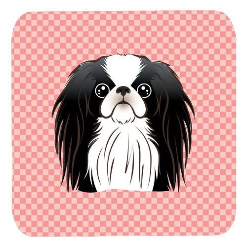 Set of 4 Carolines Treasures BB1230FC Checkerboard Pink Japanese Chin Foam Coaster Multicolor 3.5 H x 3.5 W