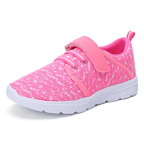 Ukris Kids Lightweight Breathable Sneakers Easy Walk Casual Sport Shoes for Boys Girls(EU 29,Pink)
