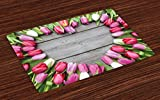 country kitchen table ideas Ambesonne Love Place Mats Set of 4, Frame of Fresh Tulips Arranged on Wooden Table Country Nature Valentines Print, Washable Fabric Placemats for Dining Room Kitchen Table Decor, Pink Green Umber,