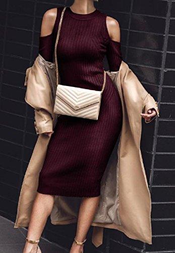 Maglioni Metà Freddo Comodi Womens Vestito Accogliente Sext Lungo Silm Rosso Maglia Spalla Vino SpWwIUw4qT