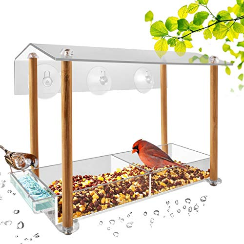 Bird feeder, strong large size with suction cups & seed tray, separate drinking-water sink & wood pillar support, weatherproof with shield roof & drain hole, outdoor acrylic bird house (12 inch)