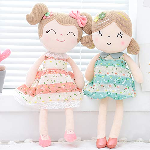 Gloveleya Baby Doll Girl Gifts Soft First Baby Dolls for Ages 1 Year and Up 2pcs Pink+Green 16.5