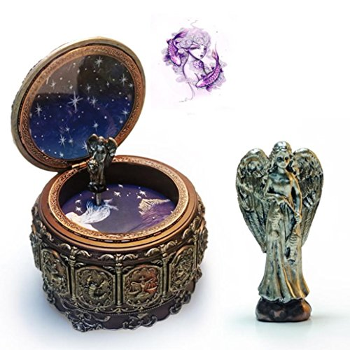 HANYI Vintage Mechanical Classical Collectible Translucidus Music Box with Twelve constellations, Plays Castle in the Sky - Pisces by HANYI
