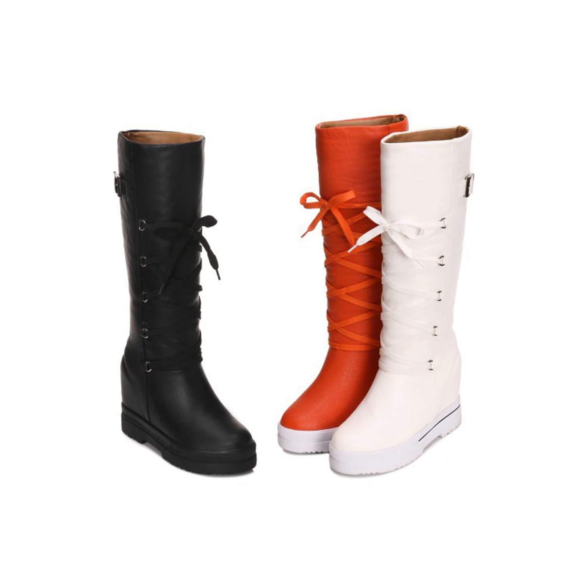 DANDANJIE Damen Schnee Stiefel Winter warme mittlere Wade Stiefel Stiefel Stiefel Damen Lace-up Keilabsatz Schuhe Stiefel,A,39EU 0113b9