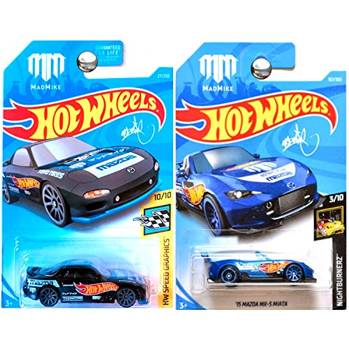 Hot Wheels 2016 and 2018 Mazda MX5 MX-5 Miata in Red and MADMIKE White Set of 2 ()