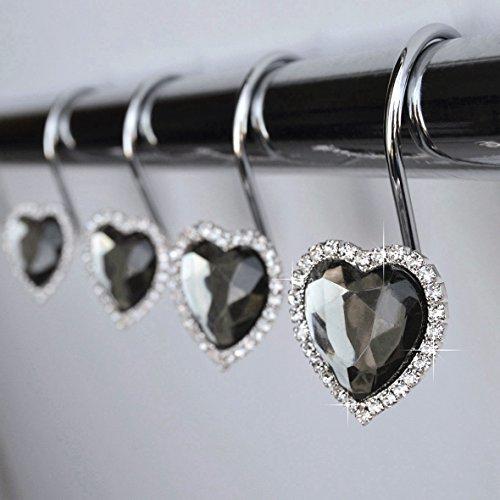 Shower Curtain Hooks Rings - Heart Gray Decorative Crystal Diamond Bling Rhinestones Bathroom Bath Set Gift Valentine Girls (Gray)