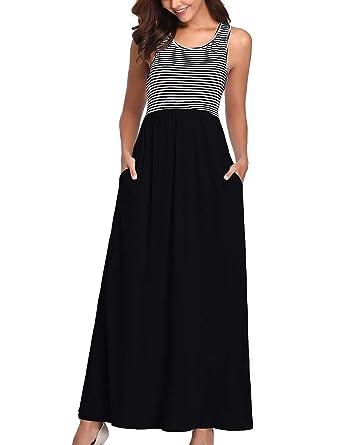 9c31daa0224 Women s Casual Loose Sleeveless Stripe Tank Top Maxi Long Dress with 2 Side  Pockets