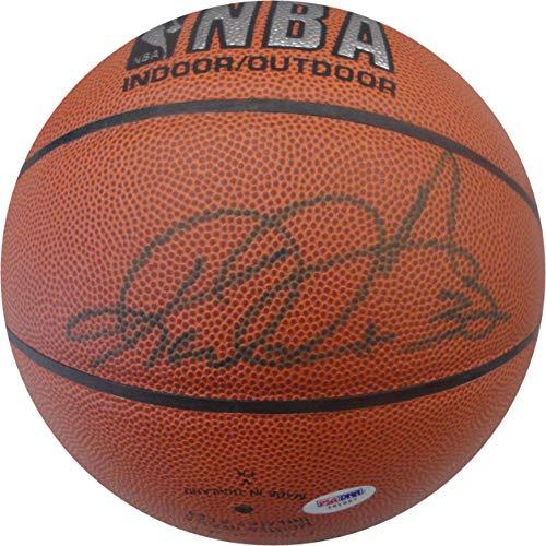 (Karl Malone Hand Signed Auto Spalding NBA I/O Basketball Utah Jazz PSA I61697)