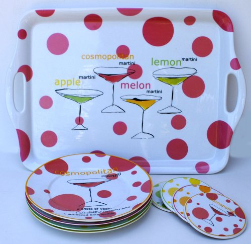 Rosanna Flavored Martinis 9 Piece Cocktail Set, 4 Plates & 4 Coasters with Handled Serving Tray