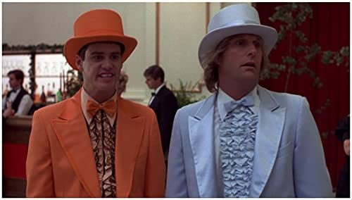 Dumb Dumber 1994 8 Inch X 10 Inch Photograph Jeff Daniels Looking Surprised In Powder Blue Tuxedo Jim Carrey In Orange Tuxedo Both Wearing Top Hats Kn At Amazon S Entertainment Collectibles Store