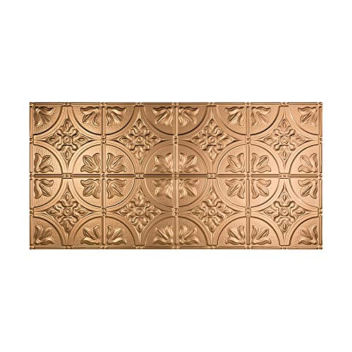 FASÄDE Easy Installation Traditional Style/Pattern #2 Polished Copper Glue Up Ceiling Tile/Ceiling Panel (One 2' x 4' Tile)