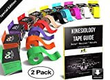 Physix Gear Sport Kinesiology Tape - Free Illustrated E-Guide - 16ft Uncut Roll - Best Pain Relief Adhesive Muscles, Shin Splints Knee & Shoulder - 24/7 Waterproof Therapeutic Aid (2PK BLK)