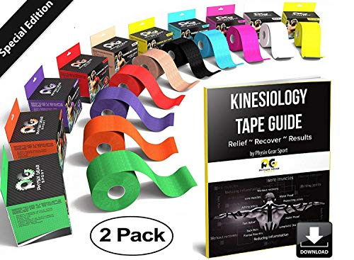 Physix Gear Sport Kinesiology Tape - Free Illustrated E-Guide - 16ft Uncut Roll - Best Pain Relief Adhesive for Muscles, Shin Splints Knee & Shoulder - 24/7 Waterproof Therapeutic Aid (2PK BLK)