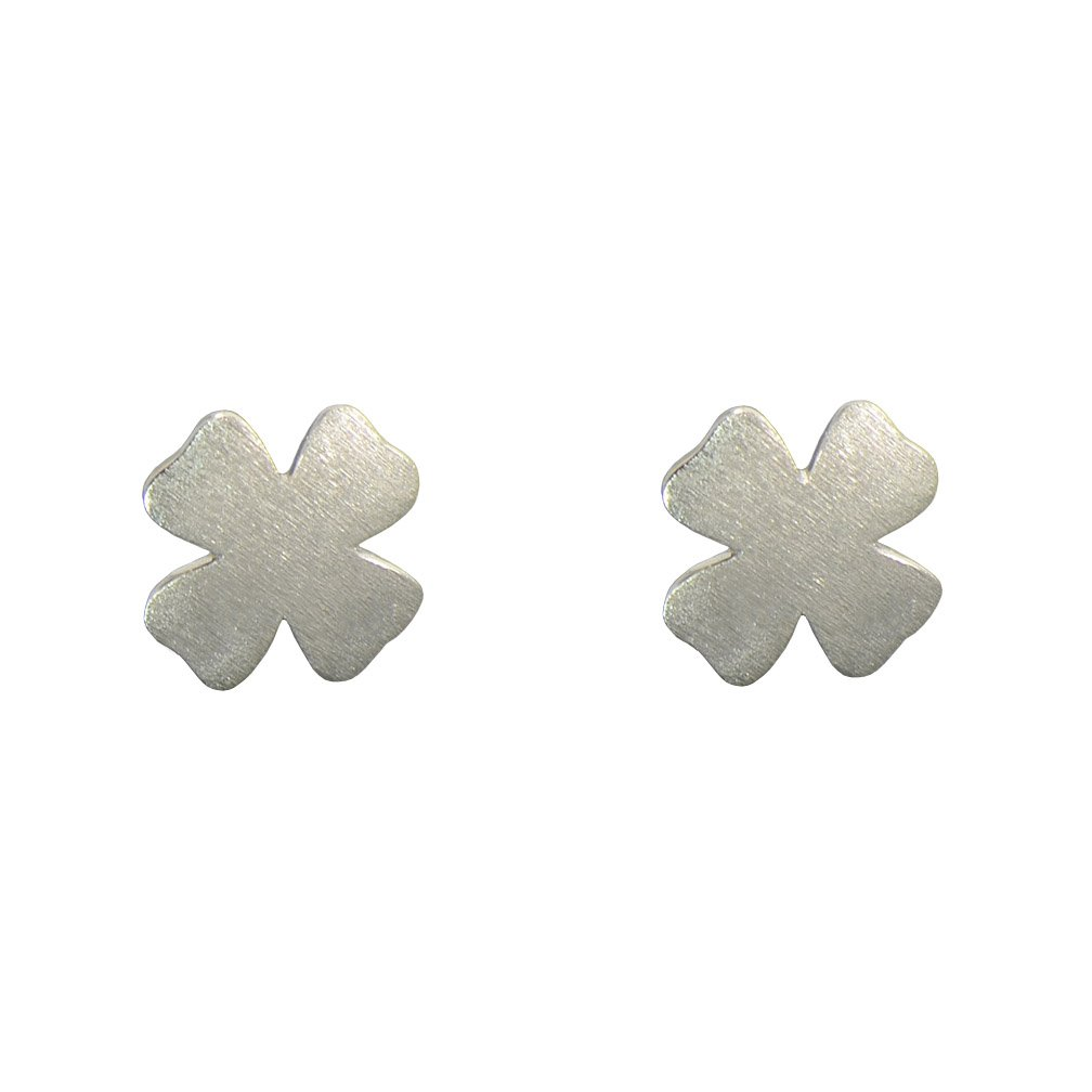 Paialco 925 Sterling Silver Dainty Clover Flower Earrings Studs 0.3 x 0.3 Inch