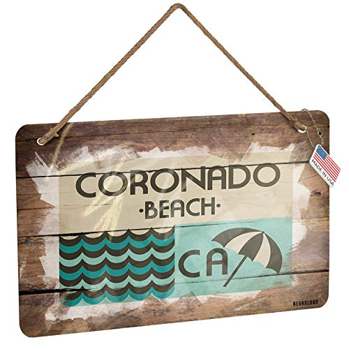 (NEONBLOND Metal Sign US Beaches Vacation Coronado Beach Christmas Wood Print)