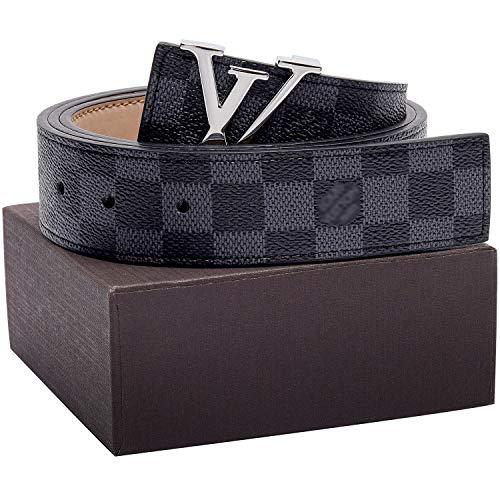 Vintage Louis Vuitton - Gold/Silver/Black Buckle Black Leather Unisex Fashion Belt for Men or Women Pants Jeans Shorts ~ 3.8cm Belt Width