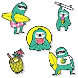 Summer Sloth Laptop Stickers[5PCS] - Vinyl Sticker for Water Bottles Hydro Flask iPhone iPad MacBook Computer Guitar Bike Car Bumper Skateboard Luggage Motorcycle, Best Gift for for Teens Girls Women
