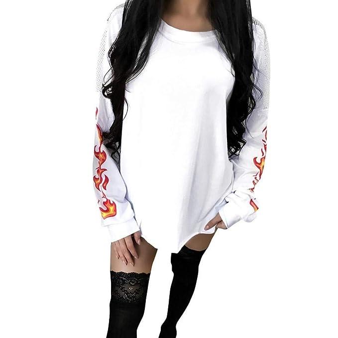 Sweatshirts Mujer Primavera Otoño Elegantes Moda Sudaderas Estampadas Joven Patrón Splice Hueco Cuello Redondo Manga Larga Anchos Pullover Sport Shirt ...