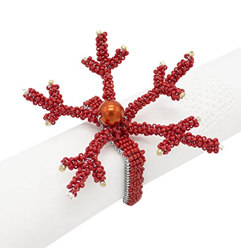Fennco Styles Hand Beaded Coral Napkin Rings-Set of 4 (Red)