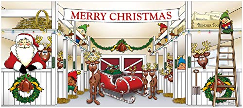 Victory Corps Outdoor Christmas Holiday Garage Door Banner Cover Mural Décoration 7'x16' - Huge Santa's Reindeer Barn Holiday Garage Door Banner Décor Sign 7'x16' from Victory Corps