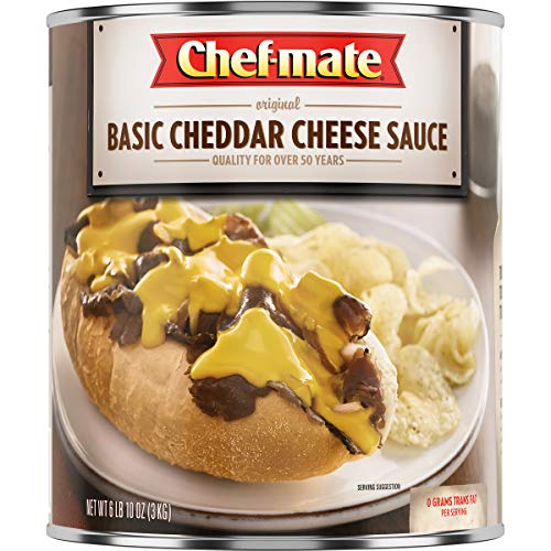 Cheddar Sauce White Cheese - Chef-mate Original Basic Cheddar Cheese Sauce, Great for Macaroni and Cheese, 6 lb 10 oz, 10 Can Bulk