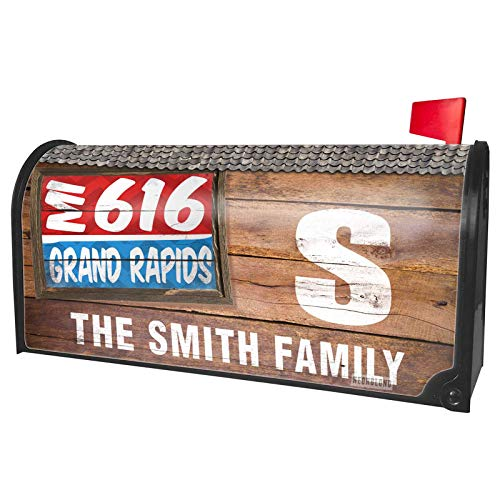 NEONBLOND Custom Mailbox Cover 616 Grand Rapids, MI red/Blue]()