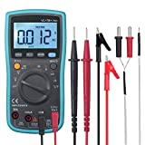 ESYNIC True RMS Digital Multimeter 6000 Counts Auto Manual Ranging Amp Ohm Volt Meter Multi Tester with Alligator Clips for AC/DC Voltage Diode Current Capacitance Resistance Temperature LED Backlit