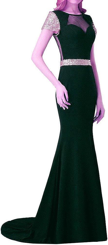 Snow Lotus Womens Short Sleeve Chiffon Mermaid Tail Evening Dresses