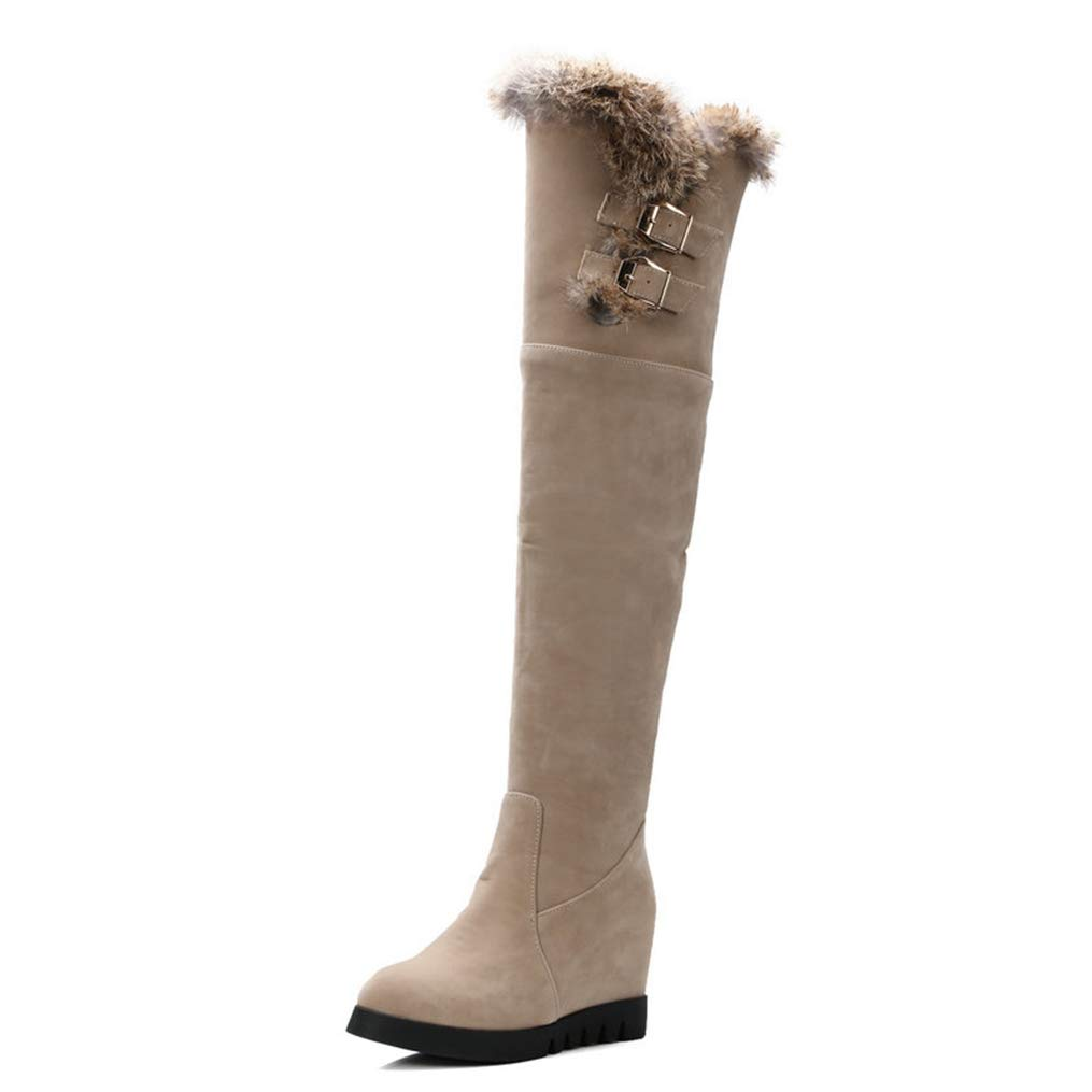 Beige Winter Women Wedges High Heels Over The Knee Slip-On Round Toe Height Increasing Snow Boots Warm Fashion shoes