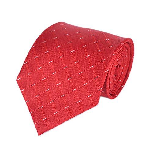 Men Coral Red Plaid Check Gingham Ties Business Slim Self Meeting Shirt Neckties ()
