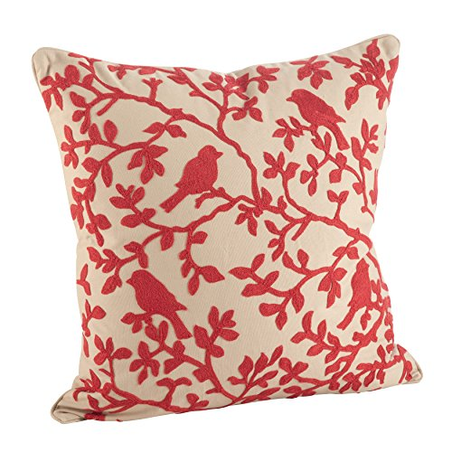 SARO LIFESTYLE Embroidered Bird Branch Vine Down Down Filled Throw Pillow 6043.R18S , 18 , Red