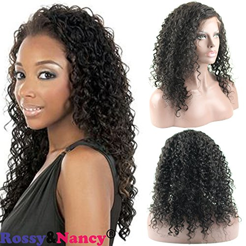 Rossy&Nancy Jerry Curl Lace Front Wigs for African Americans 100% Brazilian Remy Human Hair Lace Front Wigs With Baby Hair 260% Density for Black (Jerri Curl Wig)