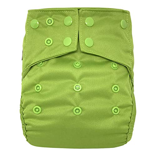 Reusable Diaper Cover: Waterproof Shell for Baby Prefold Cloth Diapers, Flats or Inserts (Green)