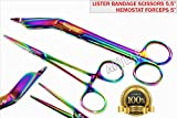 New! German Hemostat Forceps 5'' + Lister Bandage Scissors 5.5'' Rainbow Titanium Premium (CYNAMED)